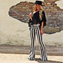Women Striped Printed Pant Boho Flare Pants Skinny Elastic Waist Vintage Soft Stretch Ethnic Style Bell Bottom Hippie