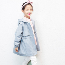 2020 Spring Korean Fashion HOT Girls Windbreaker Jackets Children #8217 s Jackets Candy Color Blue Pink Kids Coats Girls Clothes 4-12y cheap AIQINGSHA Casual COTTON Polyester Solid Short O-Neck Full Fits true to size take your normal size Thin (Summer) Woolen