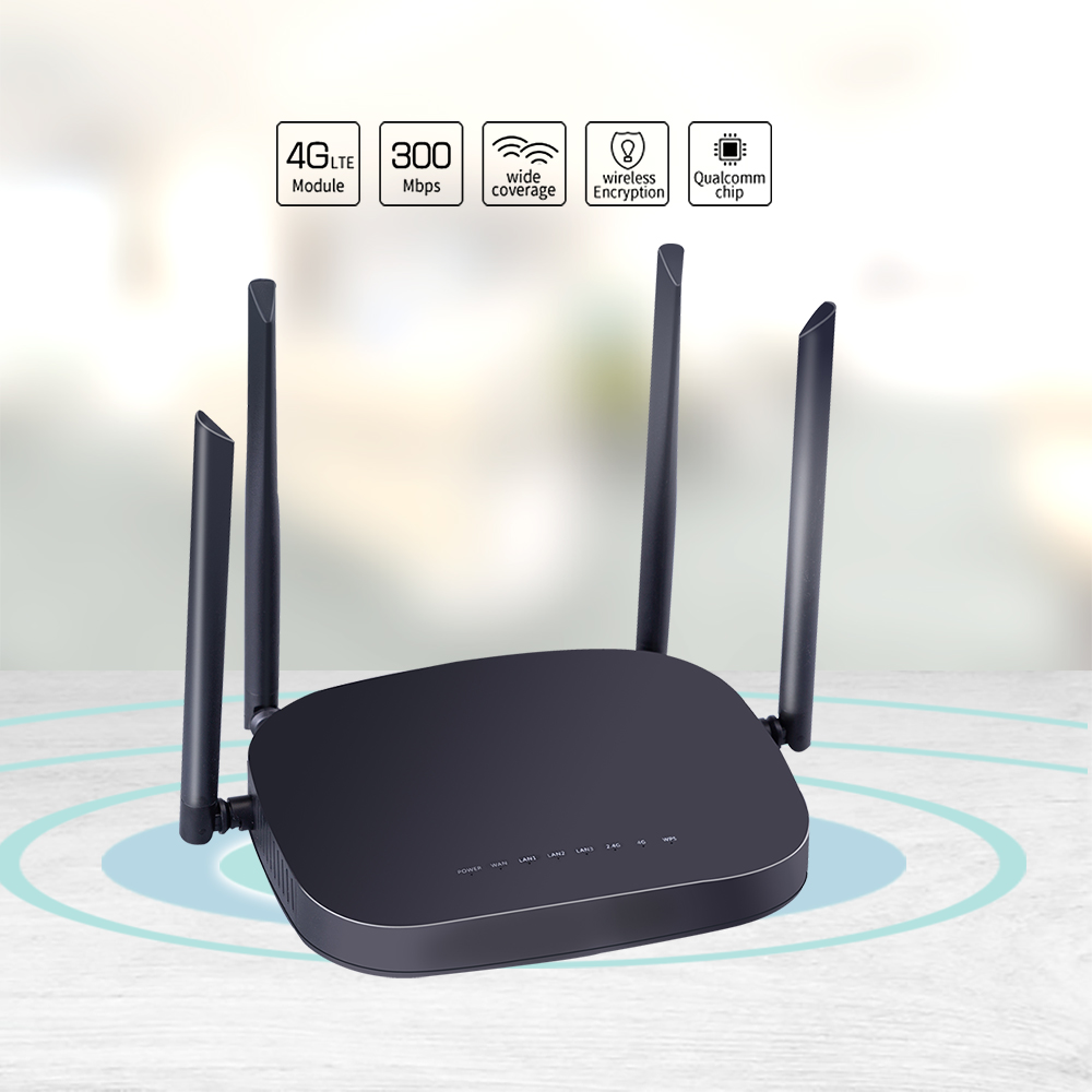 CPE 4G LTE Smart WiFi Wireless Router with 300Mbps Speed and SIM Card Router along With 4pcs External Antennas and Qualcomm Chip 4