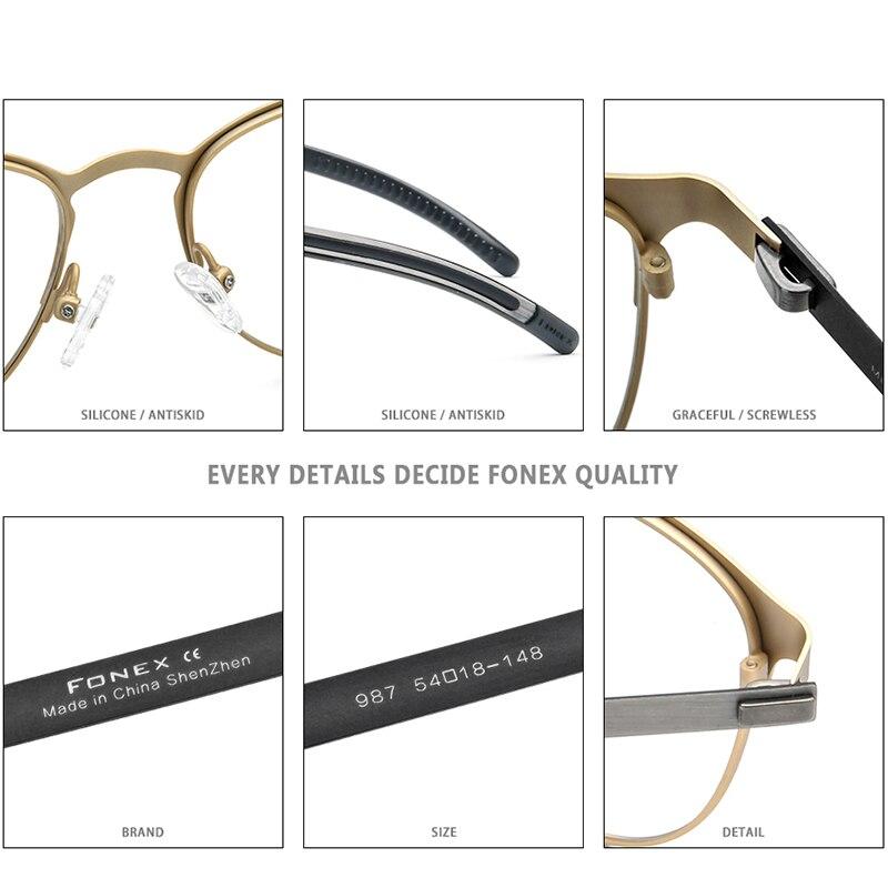 Image 5 - FONEX Silicone Alloy Optical Eye Glasses Frames for Women Round Myopia Prescription Eyeglasses Men 2020 Screwless Eyewear 987Mens Eyewear Frames   -