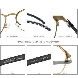 Image 5 - FONEX Silicone Alloy Optical Eye Glasses Frames for Women Round Myopia Prescription Eyeglasses Men 2020 Screwless Eyewear 987