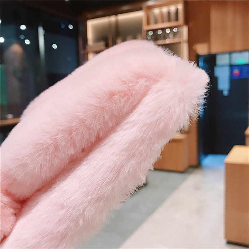 Funda Samsung A50 kılıfı peluş sıcak leopar tavşan kulaklar vaka Coque Samsung Galaxy A50 A 50 2019 A505 a505F kapak 6.4 inç