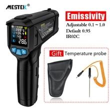 MESTEK termometro infrarojo דיגיטלי לייזר אקדח טמפרטורת termometro צבעוני LCD עם הסביבה אזעקת טמפרטורת לחות מד