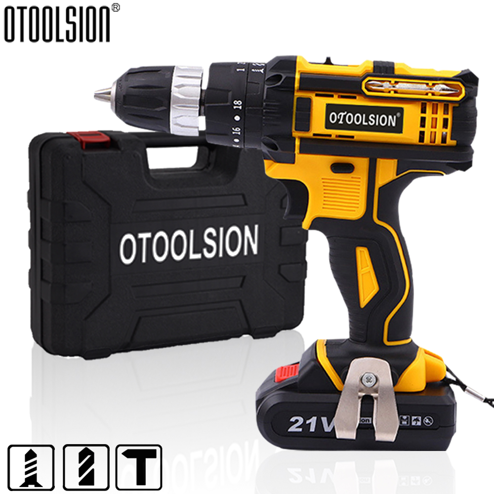 18+3 Torque 21V Cordless Drill Impact Electrical Screwdriver Impact Wireless Tool Electric Hand Tools 1600 Rpm Lithium Battery