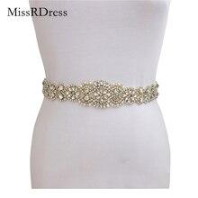 Missrdressウェディングベルトラインストーンベルトクリスタル手作り真珠ベルトブライダルドレスサッシイブニングドレス結婚式の真珠ベルトJK834