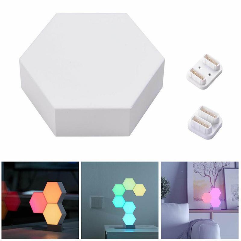 5pcs LED Lamp Hexagonal Mosaic Lamp Modular Toch Sensor Night Lamp Magneto-optical Hexagonal Decorative Creative Wall Lamp