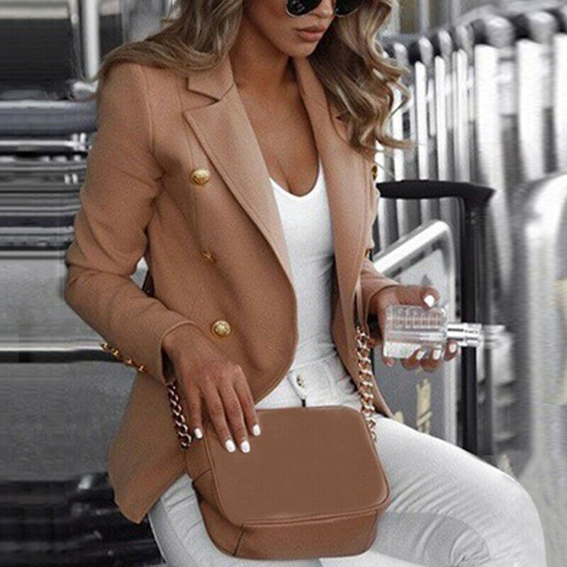 Plus Size Women Blazer Elegant Office Lady Business Suit Autumn Winter Work Blazer Fashion Jackets Tops Coat Solid Clothes S-4XL