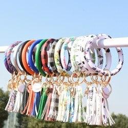 Mode arc-en-ciel en cuir Pu rond gland Bracelet porte-clés pour les femmes à la mode grand cercle dragonne Gringe Spot porte-clés accessoire