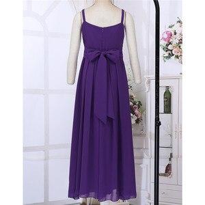 Image 4 - Sommer Kinder Mädchen Chiffon Brautjungfer Kleid Spaghetti Schulter Riemen Blume Teen Mädchen Prinzessin Kleid Hochzeit Party Formale Kleid