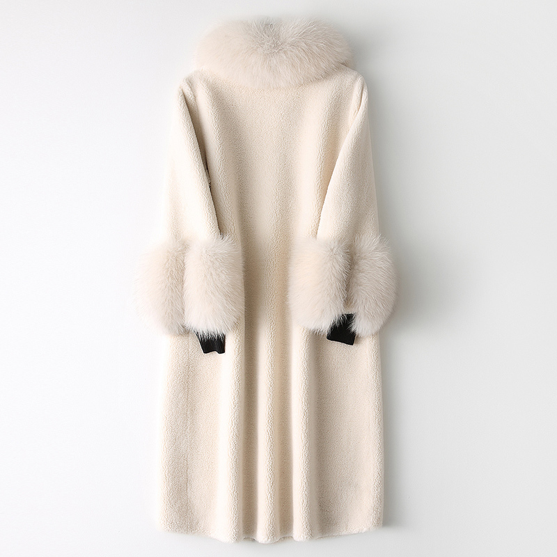 Fur Real Coat Female Sheep Shearling Fur Winter Jacket Women Clothes 2020 Fox Fur Collar Wool Coats Korean Outwear MY s image