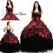 Винтажное свадебное платье в готическом стиле красное с черным