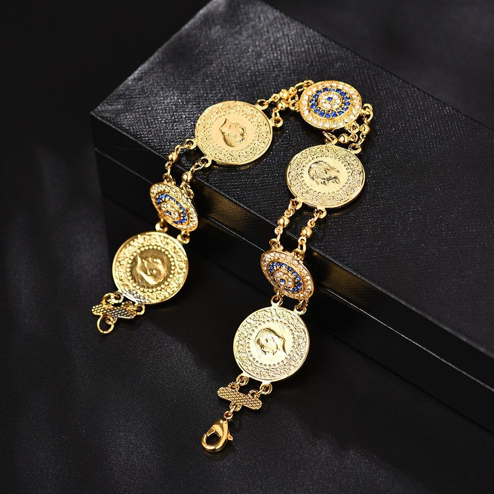 Never Faded Blue Evil Eye Crystal Charm Allah Bracelets for Islam Women Muslim Jewelry Turkish Blue Eye Bracelet Gold Color