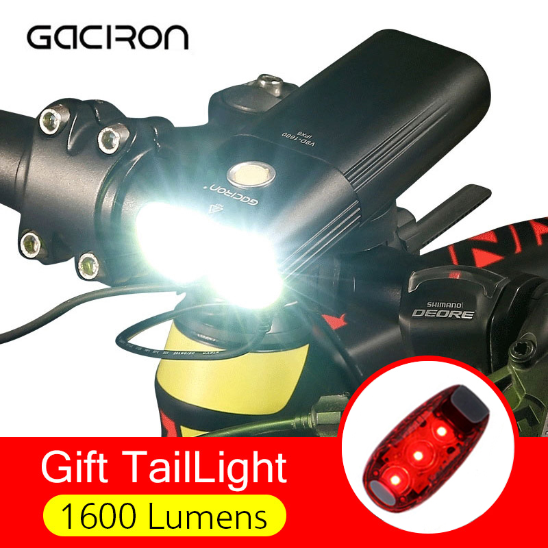 GACIRON Professional 1600 Lumens Bicycle Light USB Rechargeable MTB Bike Headlight Power Bank Waterproof Front Light Flashlight