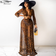 Bonnie Forest Casual Print Leopard Mesh Two Pieces Skirt Set Women V Neck Bandage Top And Maxi Skirt Suits Matching Set Outfits