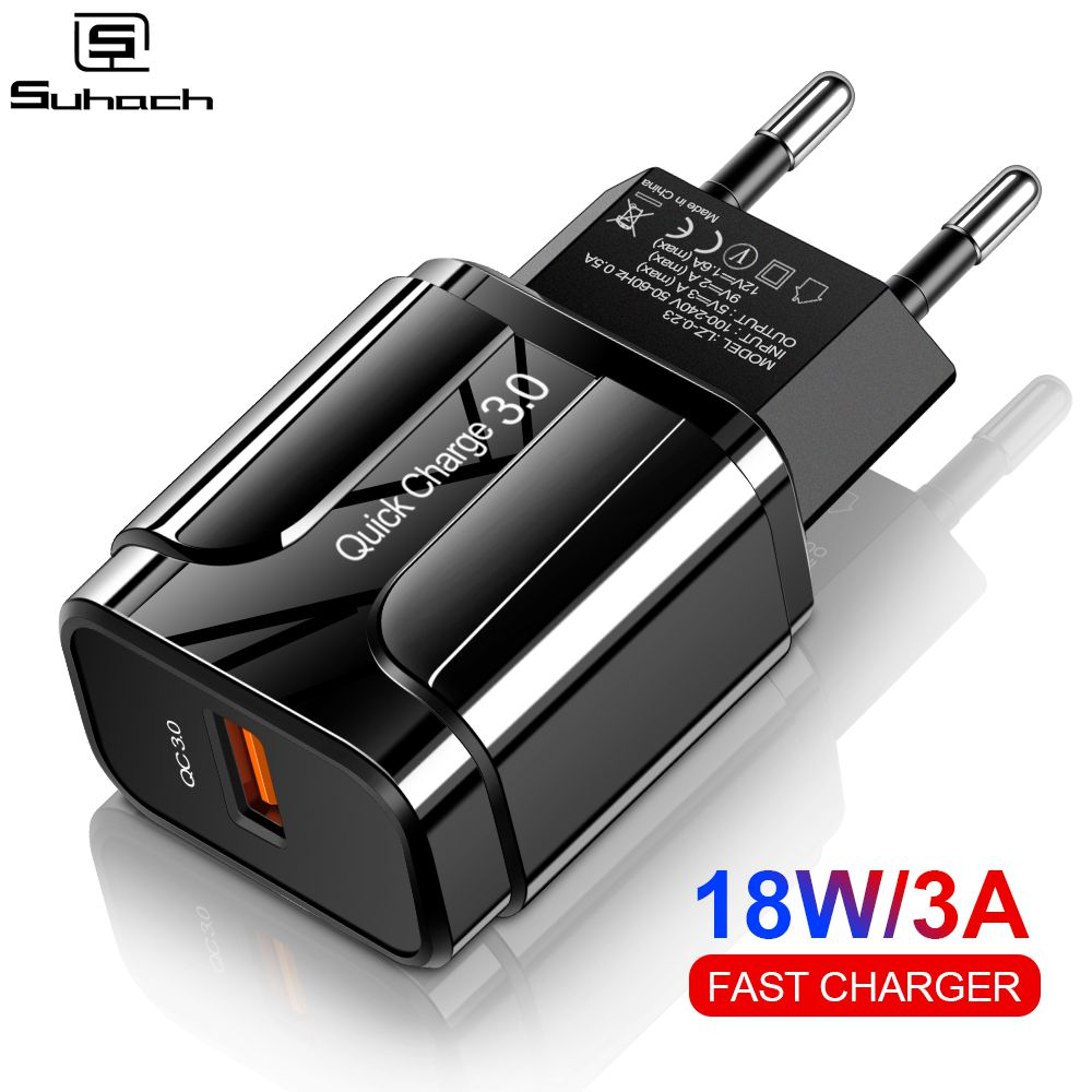Suhach 18W Quick Charge 3.0 Fast Mobile Phone Charger EU Plug Wall USB Charger Adapter for iPhone X Samsung Xiaomi Note 7 Huawei(China)