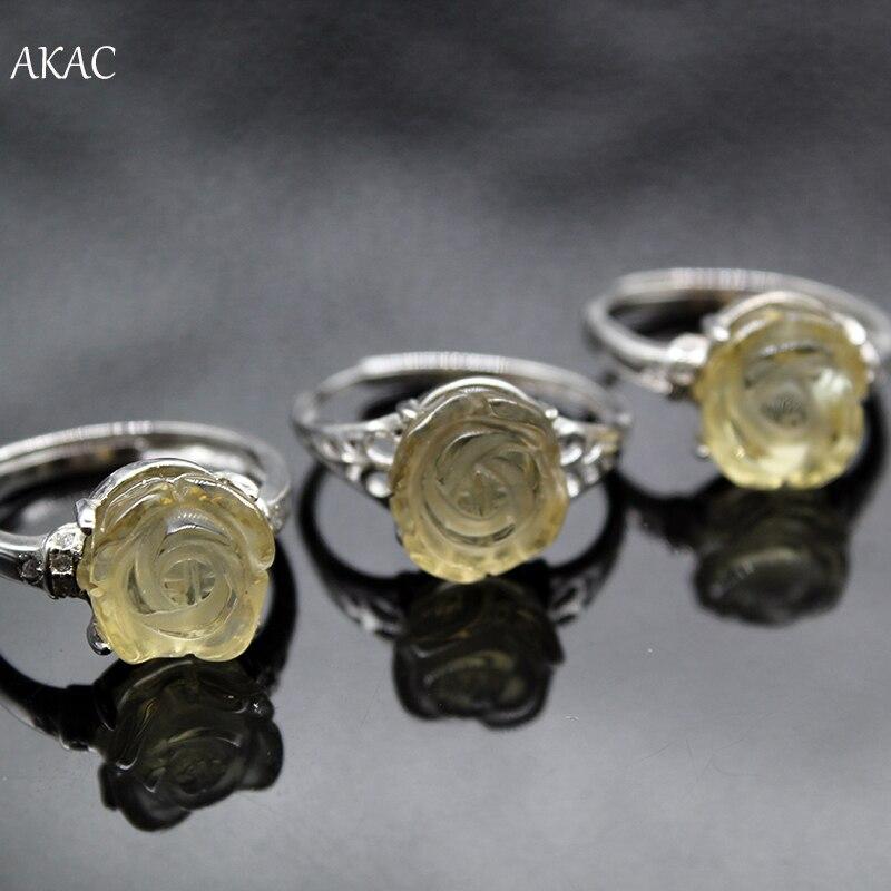 AKAC Adjustable-Ring Flower-Shape Citrine Natural-Light Randomly Yellow for Women Send