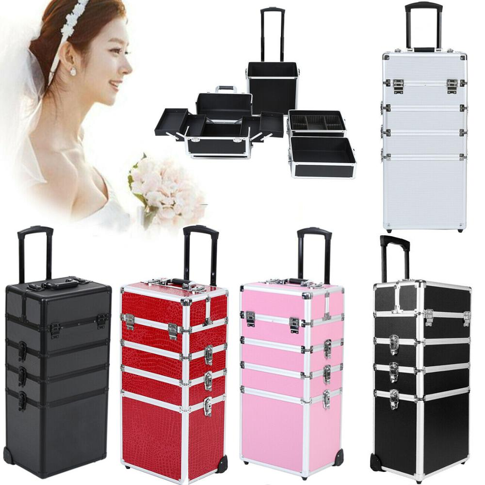 Yonntech 5 In 1 Cosmetic Beauty Make Up Case Nail Hairdressing Suitcase Makeup Beauty BOX Trolley 5 Colors