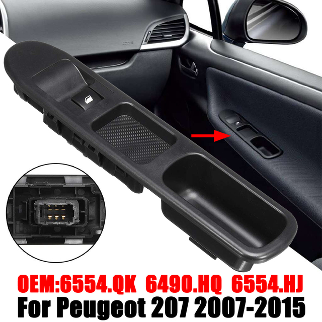 $ 10.19 6Pin Passenger Side Electric Window Control Switch With Frame For Peugeot 207 2007-2015 6490 HQ 6554HJ Power Window Roll Up/Down
