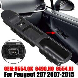 Interruptor de control de ventana eléctrica lateral de 6 pines con marco para Peugeot 207 2007-2015 6490 HQ 6554HJ eléctrico para elevar las ventanillas/abajo