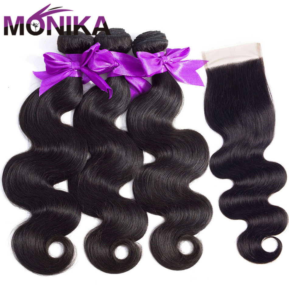 Monika Hair 30 Inch Body Wave Bundles With Closure Non-Remy Human Hair With Closure Malaysian Hair Tissage Closure With Bundles