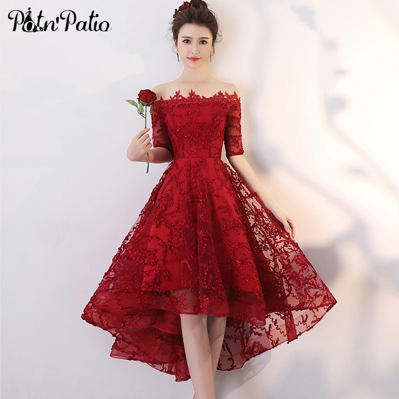 Wine Red Lace High Low Prom Dresses 2020 Elegant Boat Neck Off The Shoulder Short Front Long Back Plus Size Homecoming Dresses