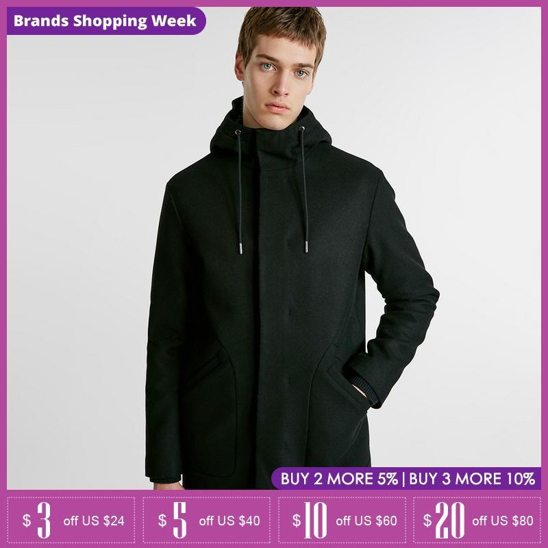 Jack Jones hooded wool leisure long coat mens winter Jacket  218427506