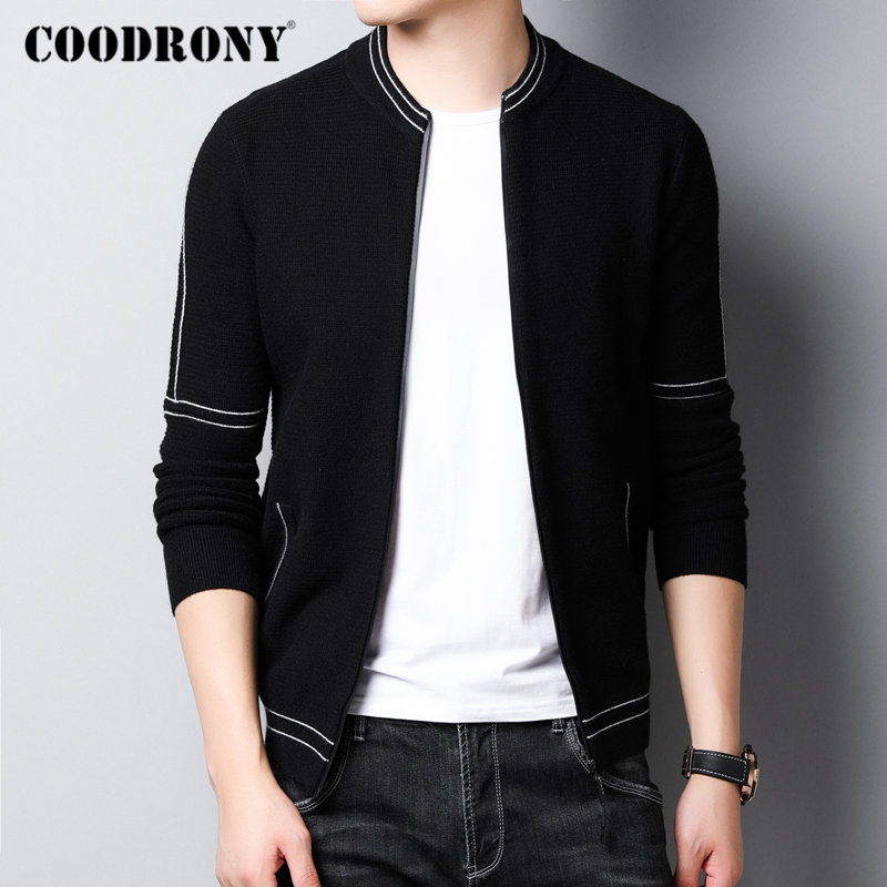 COODRONY Brand Sweater Men Streetwear Fashion Sweater Coat Men With Pockets Autumn Winter Knitted Cotton Wool Cardigan Men 91107