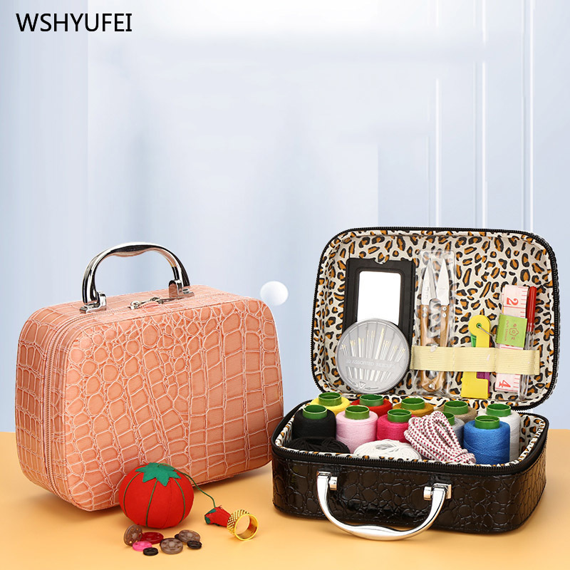 Sewing Box Set Home Exquisite Leather Storage Bag Tool Portable Travel Tool Storage Multi-function Sewing Needles Treasure Box