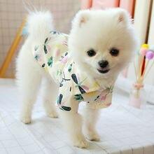 Летняя одежда для собак хлопковая дышащая рубашка с принтом