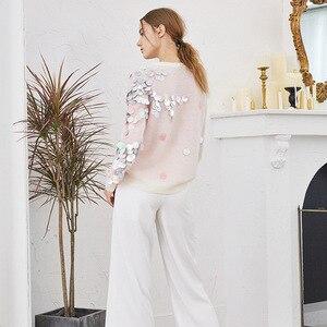 Image 3 - Jerséis largos de punto holgados con lentejuelas y cuentas de primavera para mujer 2020, jerséis finos de manga larga a la moda para mujer, Jersey informal C 058