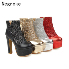 Sexy Boots Women Leather Autumn Winter High Heels Shoes Zipper Ankle Boots Woman Black Platform Party Wedding Shoes xiuningyan shoes woman 2018 autumn winter chunky heels zipper black beige ankle boots women s shoes genuine leather matin boots