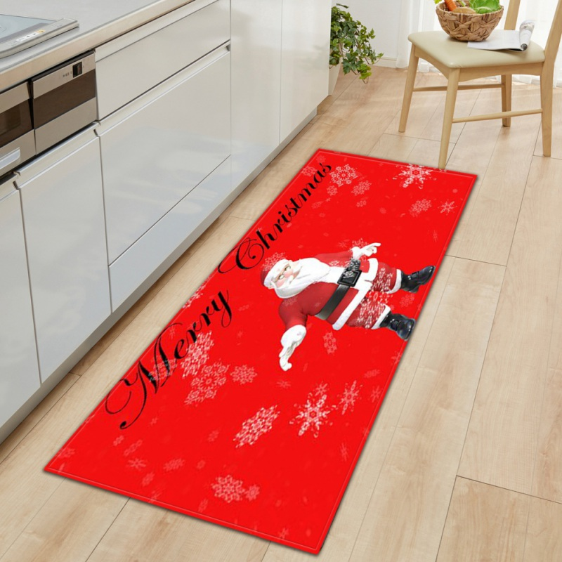 New Carpet Christmas Pattern Santa Claus Area Rug Non-Slip Decorative Floor Mat For Kitchen Living Room Bedroom Playing Room