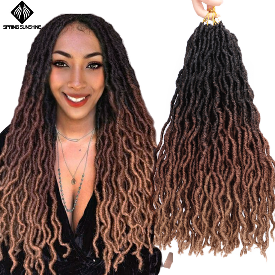 Spring Sunshine Nu Locs 12 18inch Goddess Faux Locs Curly Crochet Braids Hair Weave Synthetic Braid Hair Exntension For Women