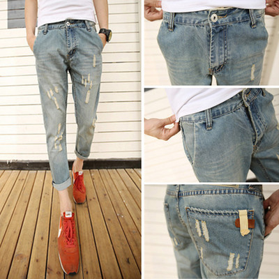 Autumn Capri Pants Men With Holes Jeans Slim Fit Korean-style Teenager Ripped Jeans 9 Points Pants