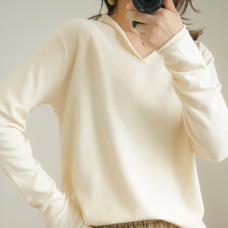 Fall Knitting Sweater Women Casual Stretch Fake Hood V-neck Collar Fashionable Stylish Female Pullover Autumn Spring Tops