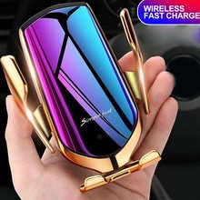 10w de aperto automático carregador sem fio do carro para o iphone 11 12 xs huawei lg indução infravermelha qi carregador sem fio rápido carro