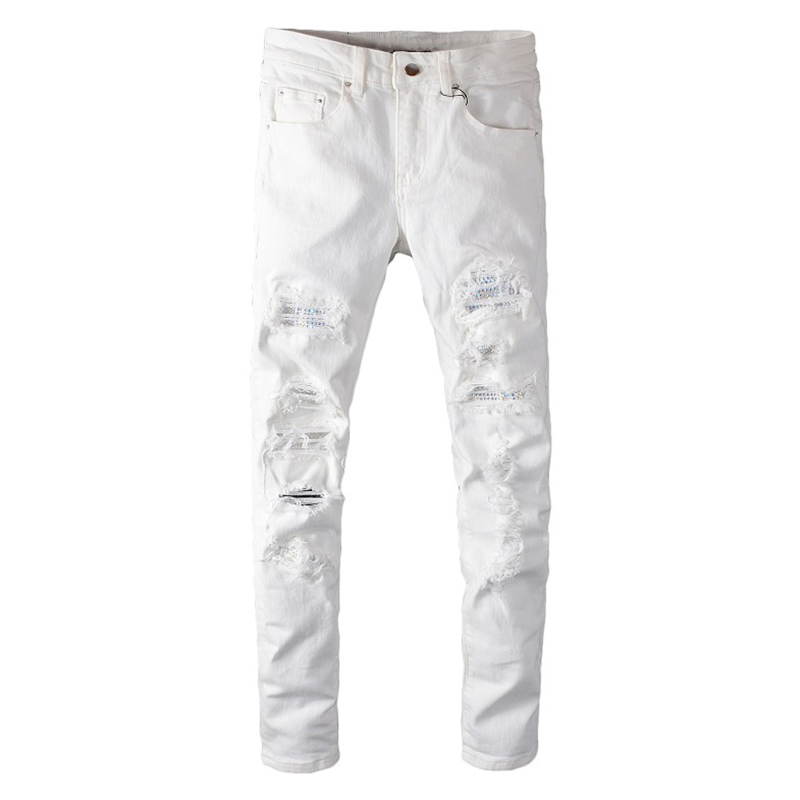 Sokotoo Men's White Crystal Holes Ripped Jeans Fashion Slim Skinny Rhinestone Stretch Denim Pants