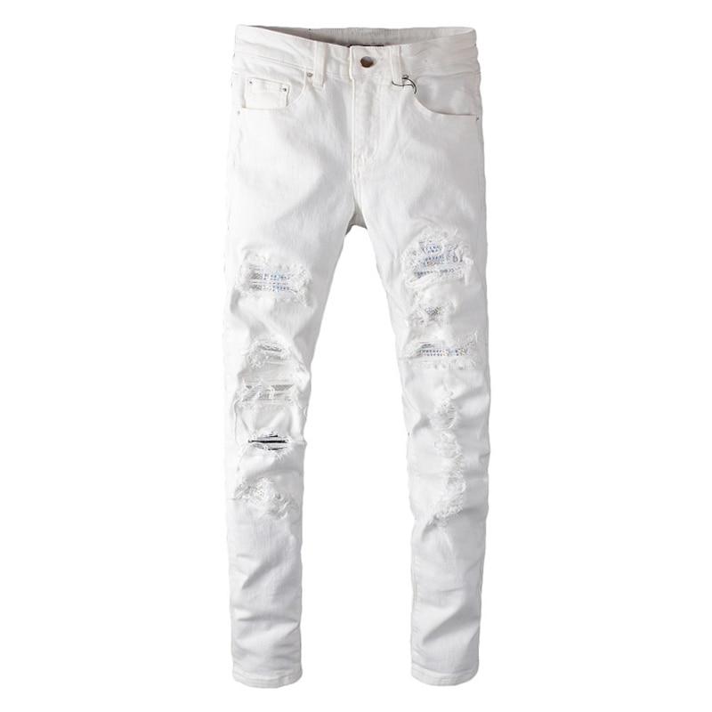 Sokotoo Men's White Crystal Holes Ripped Jeans Fashion Slim Skinny Rhinestone Stretch Denim Pants