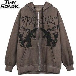 Homens hip hop streetwear jaqueta com capuz anjo jaqueta de impressão escura casaco harajuku algodão velo outono inverno jaqueta outwear zíper