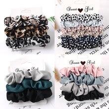 3/5/pces scrunchies de seda impressão leopardo conjunto elástico faixas de cabelo cor sólida moda headwear feminino acessórios de cabelo presente
