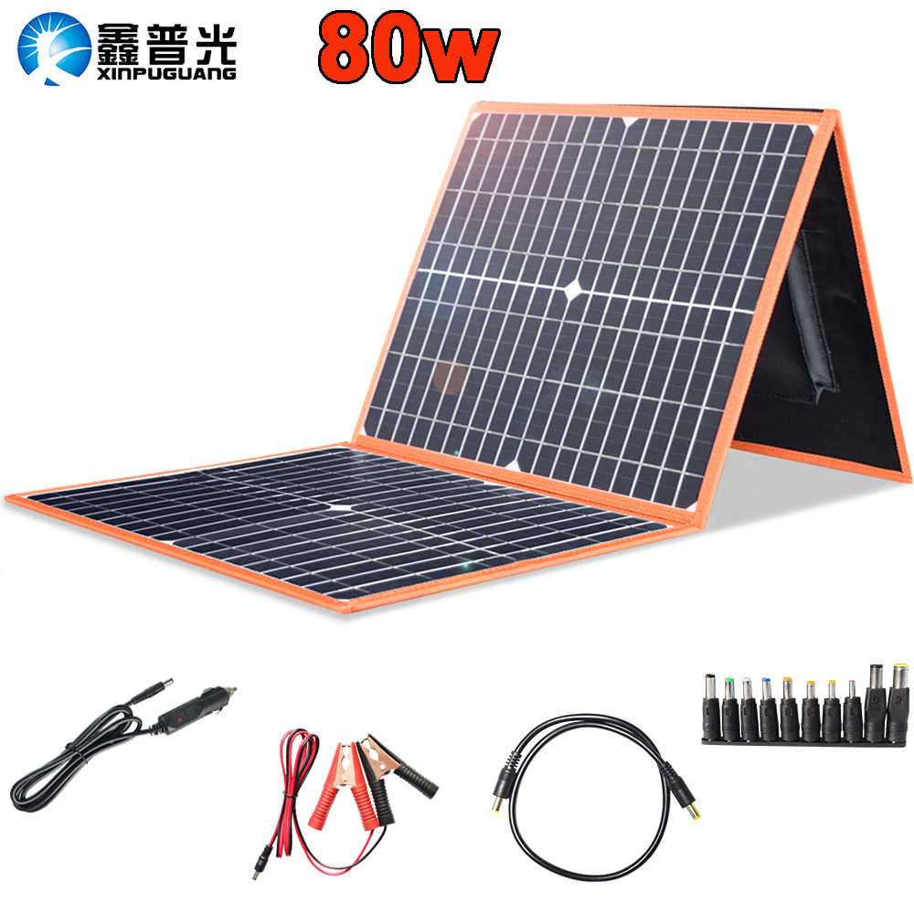 100w 80w mono solar panel foldable flexible 18v portable charger home kit 5v usb for phone 12v RV car battery travel Boat hiking