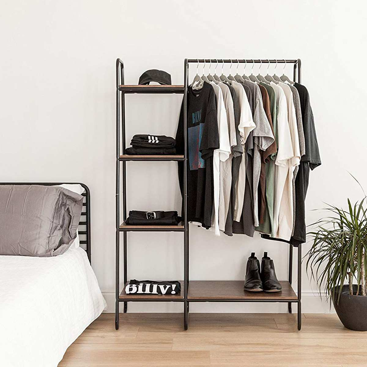 Single Rod Drying Rack Floor Stand Drying Rack Simple Clothes Storage Shelf Folding Indoor Balcony Clothes Racks