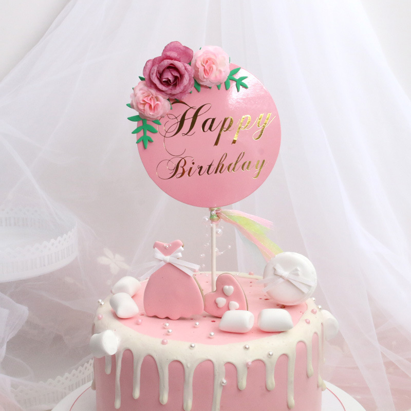 Image 4 - Flower Happy Birthday Cake Topper Mother's Day Cake Decorations Kids Birthday Cake Supplies Baby Shower Cupcake Topper-in Cake Decorating Supplies from Home & Garden