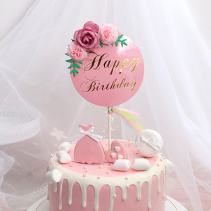 Image 4 - Flower Happy Birthday Cake Topper Mothers Day Cake Decorations Kids Birthday Cake Supplies Baby Shower Cupcake Topper