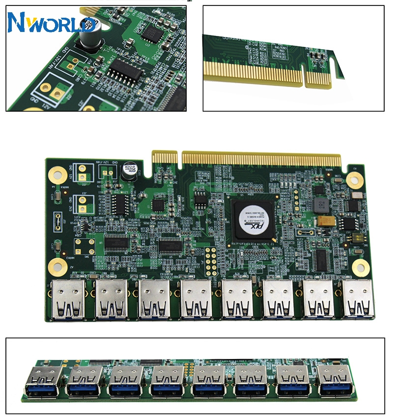 1 To 8 PCIe Miner Machine Graphics Card Extension Cord PCI-E 16X Turn 8 Port USB3.0 PCIE Expansion Cards Riser Card BTC LTC ETH-0