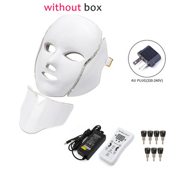 7 Colors Light LED Facial Photon Therapy Beauty Machine With Neck Skin Rejuvenation Face Care Anti Acne Whitening Instrument - Russian Federation, AU Plug withoutbox