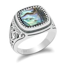¡Novedad! anillo con circón y concha de Plata de Ley 925, anillo Vintage para hombres, joyería de moda