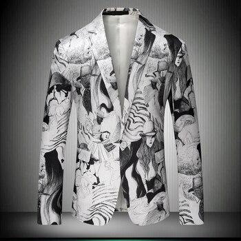 Япония 2020 Новое поступление стильный мужской блейзер с рисунком костюм куртка приталенный Мужской Блейзер Мужское пальто осенняя верхняя