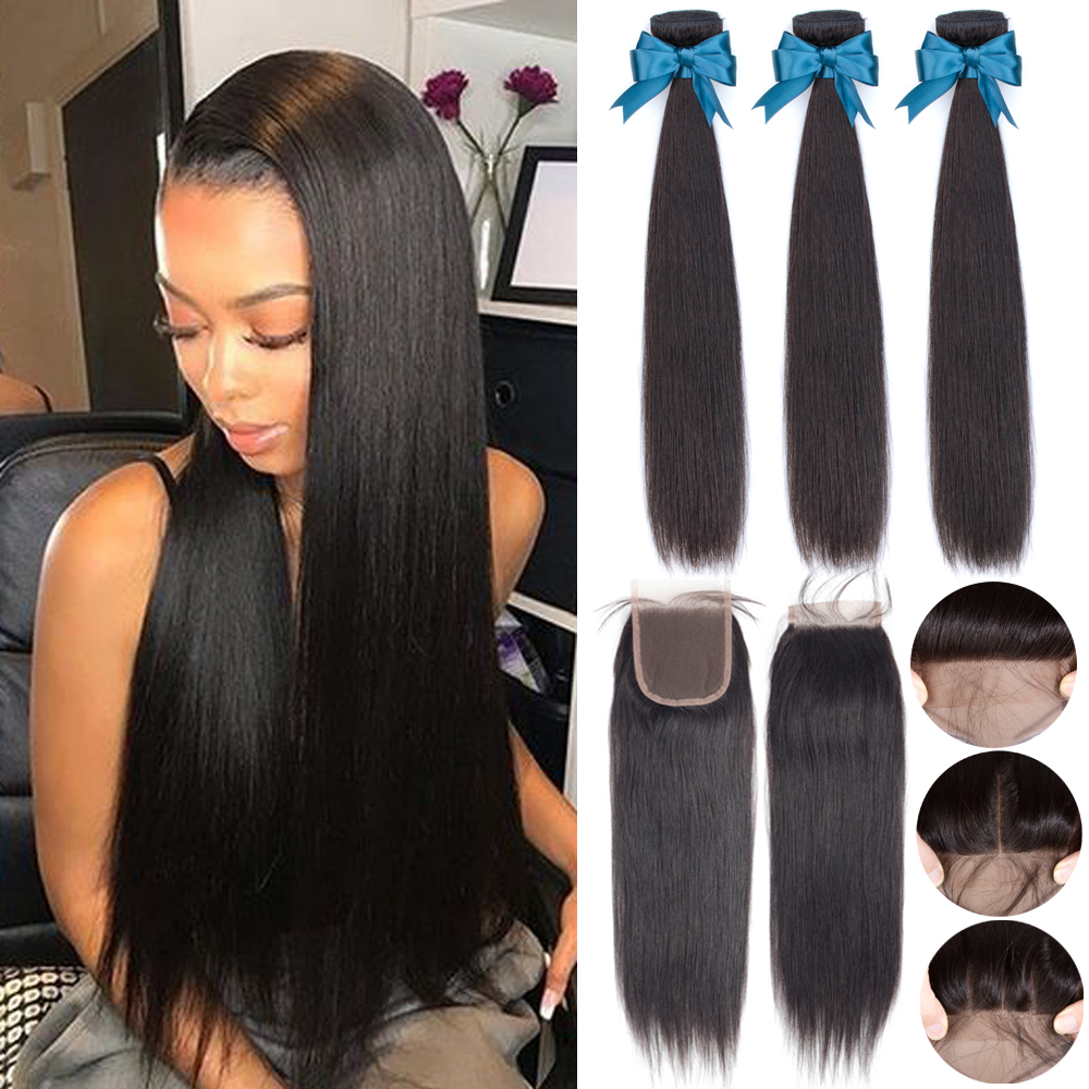 Beaudiva extensão do cabelo 100% pacotes de cabelo humano com fechamento tecer cabelo brasileiro 3 pacotes em linha reta com fechamento do laço