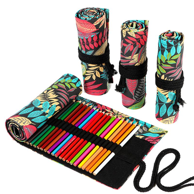 Tree Leaf 12/24/36/48/72 Holes Canvas Roll Pen Curtain Pencil Bag Case Makeup Wrap Holder Storage Pouch School Supplies